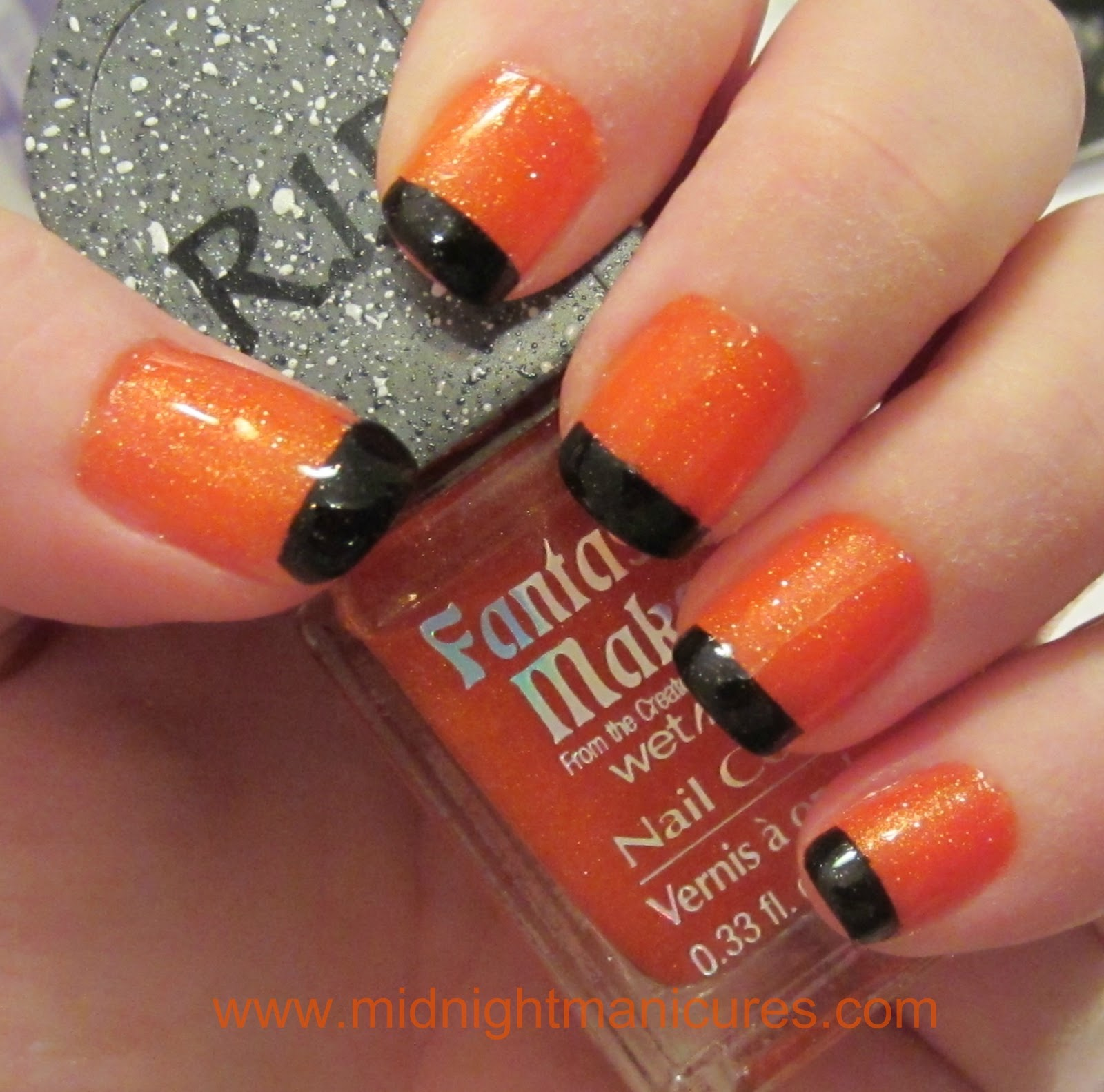 Halloween French Tip Manicure with Orange and Black ...